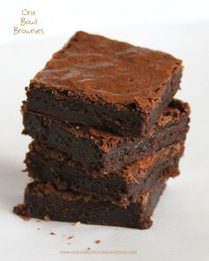 One Bowl Brownies, made from scratch, deep rich chocolate flavor, fudgy center. with a crisp, flaky top.