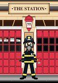 Fireman en respirador en la estación de bomberos