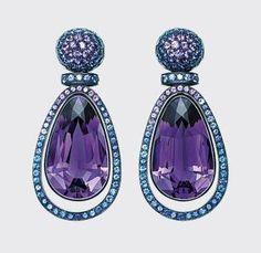 Amethysyt, Sapphire and White Gold Earrings, Hemmerle