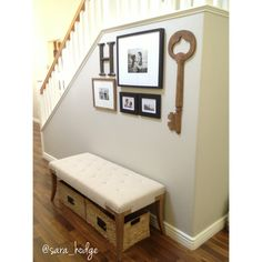 Ideas to decorate a small entry way Entry way Entry way decor Small entry way Restoration Hardware Home Goods Home Decor Gallery Wall Small Storage Bench, Entryway Bench Storage, Entryway Decor, Entry Way Decor Ideas, Brick Wall Decor, Grey Wall Decor, Wood Wall, Stair Walls, Stairs