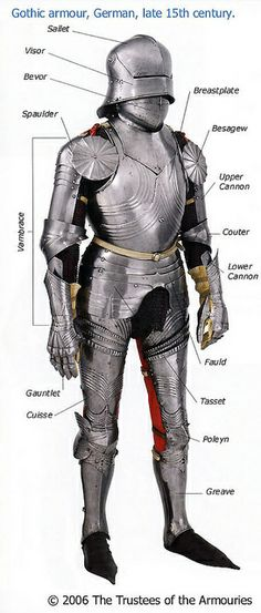 "The parts of a harness (anyone calling it ""a suit of armour"" will be whacked with a pollaxe). In my view, there's a bit of confusion here over the vambrace (lower arm guard) and rerebrace (upper arm guard). Medieval Weapons, Medieval Knight, Medieval Fantasy, Armadura Medieval, Larp, Templer, Landsknecht, Knight Armor, Arm Armor"