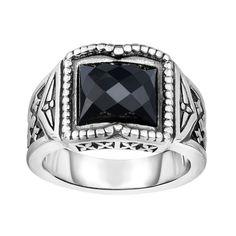 Ring Silver Ring with Black Onyx. Fleur De Lis Symbol