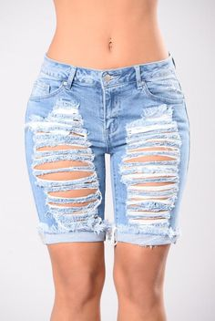 Every Season Shorts - Blue from Fashion Nova. Saved to Shorts Story. Shop more products from Fashion Nova on Wanelo. Ripped Bermuda Shorts, Ripped Shorts, Teen Fashion, Love Fashion, Fashion Outfits, Mom Outfits, Cute Outfits, Beach Outfits, Cute Pants