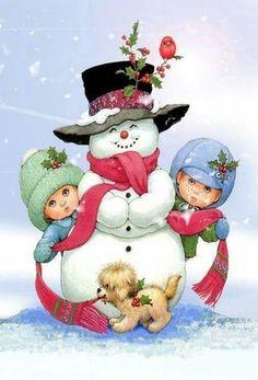 Cute Snowman Kids and Puppy Clipart Clipart Noel, Snowman Clipart, Christmas Clipart, Vintage Christmas Cards, Christmas Printables, Christmas Pictures, Christmas Snowman, Vintage Cards, All Things Christmas