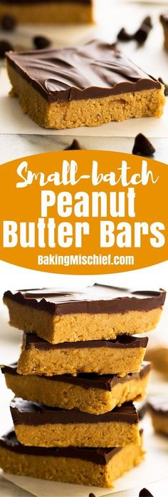 These easy Small-batch Peanut Butter Bars taste just like giant Reese's peanut butter cups. Small Desserts, Köstliche Desserts, Homemade Desserts, Delicious Desserts, Peanut Butter Desserts, Homemade Peanut Butter, Reeses Peanut Butter, Dessert For Two, Dessert Bars