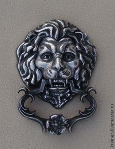 "дверной молоток""лев"" - серебряный, дверной молотк, дверь, вход, предмет интерьера, door knockers#Handmade#door knocker#сувениры#металл"