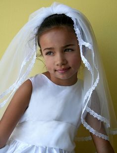 Gathered Tulle Girls Communion Veil with Fine Lace Detail ready for her special day