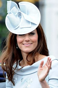Duchess of Cambridge wore an origami-style Jane Corbett hat, to the Trooping the Colour ceremony, held at Buckingham Palace to mark the Queen's birthday celebrations in June 2012.