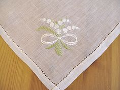 Irish Linen Handkerchief with Lily of the Valley my birth flower. Granny used to send hanky's every year.