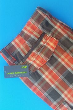 Orange & Gray Plaid Men's Cargo Shorts Cotton 42 NWTJohn Bartlett #JohnBartlett #Cargo