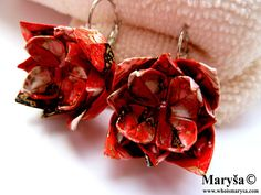 Origami Flower Earrings Red Origami Yuzen washi  by MarysaArt