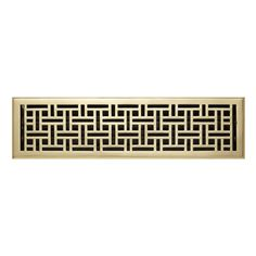 "Wicker Style Brass Floor Register - Polished Brass 6"" x 30"" (6-3/4"" x 30-7/8"" Overall)"