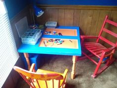 This started out as an old panel door. First I cut it in half. Then I pained the table and legs. After they dried I used L-brackets to attach the legs for extra support. Last let the kids build and dump out Legos. With the door panels the Legos don't roll off. It's a Win, Win for everyone. @simpleobsessions