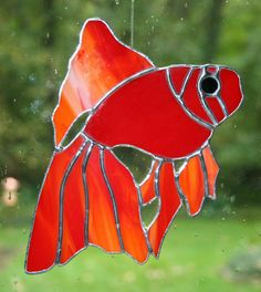Stained Glass Red Fish Suncatcher by Imakeglass on Etsy, $25.00
