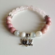 Balance ~ Genuine Rose Quartz, Moonstone & Rhodonite ~ Hamsa Hand or Lotus Charm - Positive Energy