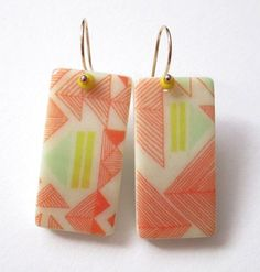 Red and Aqua Triangles Domino Earrings ali herrmann by theotherali