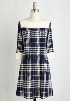 Luck of the Flawless Dress - Blue, White, Plaid, Print, Work, Shift, 3/4 Sleeve, Fall, Knit, Good, Mid-length