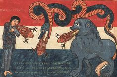 Revelation 16:13 'And I saw three unclean spirits like frogs come out of the mouth of the dragon, and out of the mouth of the beast, and out of the mouth of the false prophet' ('Et vidi de ore draconis, et de ore bestiæ, et de ore pseudoprophetæ spiritus tres immundos in modum ranarum')  Beatus of Liébana, Commentaria in Apocalypsin (the 'Beatus of Saint-Sever'), Saint-Sever before 1072 (BnF, Latin 8878, fol. 184v)