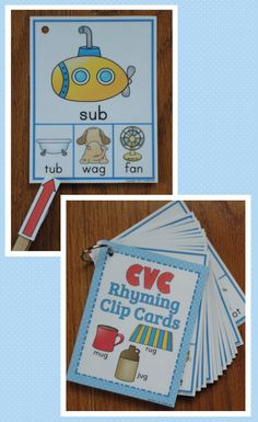 Rhyming Clip Cards- These would make another great word center activity. I love the fact that all of the words are accompanied by pictures to give that visual.