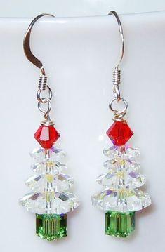 Swarovski Crystal AB Christmas Tree Earrings by BestBuyDesigns Beaded Earrings, Earrings Handmade, Beaded Jewelry, Handmade Jewellery, Gold Earrings, Enamel Jewelry, Jewellery Designs, Gothic Jewelry, Chandelier Earrings