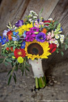 Country Meadow Wildflower Bridal Bouquet in jewel tones with~ yellow sunflowers, red dahlias, green button mums, blue belladonna delphinium, fuschia dianthus, orange safflower, red roses, purple veronica, white daisy filler, purple lisianthus, pink snapdragons and eucalyptus