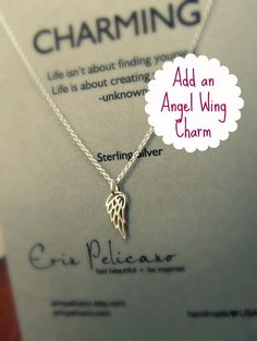 Add an ANGEL WING charm / Charm Necklace / Sterling Silver delicate jewelry via Etsy
