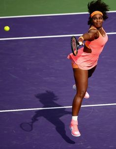 Serena Williams of the United States plays a backhand volley against Monica Niculescu of Romania in their second round match during the Miami Open Presented by Itau at Crandon Park Tennis Center on March 28, 2015 in Key Biscayne, Florida. (Photo by Clive Brunskill/Getty Images) #Serena #SerenaWilliams #Tennis