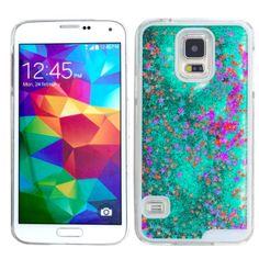 Green Star Glitter Waterfall Samsung Phone Case