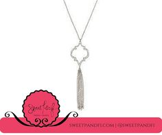 Rhodium Quatrefoil Pendant Necklace with Fringe