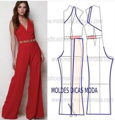 MOLDE DE MACACÃO VERMELHO, You can collect images you discovered organize them, add your own ideas to your collections and share with other people. Jumpsuit Pattern, Pants Pattern, Diy Clothing, Sewing Clothes, Dress Sewing Patterns, Clothing Patterns, Wedding Dress Patterns, Fashion Sewing, Diy Fashion