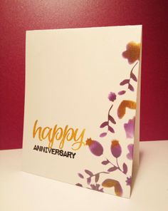 One layer card by Kimberly Wiener using SENTIMENT BUILDERS: Happy