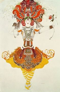 Ballet Costume for 'The Firebird', by Stravinsky (w/c on paper) Wall Art & Canvas Prints by Leon Bakst