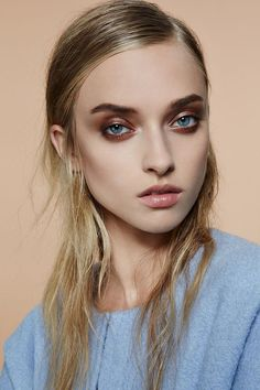 Beautiful bronze eye make up, nude lips. Stylist Magazine Complexion Beauty Editorial with Gucci Westman