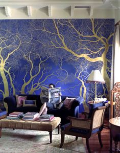 hand painted walls, I would love to do this in my bedroom except I would use purple back ground