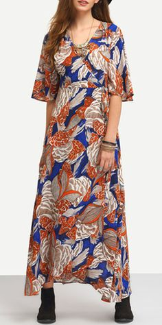 New wrap dress at shein.com. Chic maxi beach dress with tie-waist, a line…