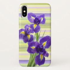 Beautiful Purple Lilac Irises Watercolor Painting iPhone X Case - trendy gifts cool gift ideas customize