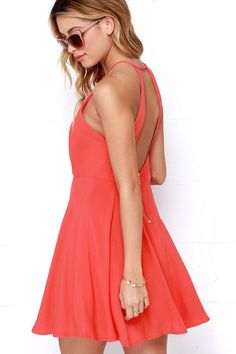 West Coast Swing Coral Red Skater Dress at Lulus.com!