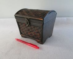 Bamboo and Wood Box Vintage Small Trunk Dome Top by HobbitHouse