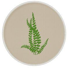 Green leaves cross stitch pattern, Instant Download, Free shipping, Cross-Stitch PDF, Fern cross stitch pattern