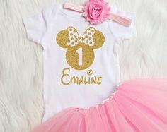 Personalizada Minnie Mouse cumpleaños primera por RosieandJames