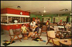 1960's postcard, view of hotel lounge/bar interior postcard from Cathay Hotel - Lautoka, Fiji.