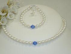Child's Necklace Bracelet Set, Flower Girl Jewelry, Baby Jewelry, First Pearls, Kids Jewelry, Baptism, Christening, Birthstone Jewelry