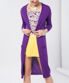 Take a look at this Purple Front-Pocket Open Duster today!