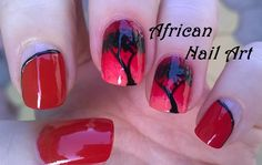African tree #nailart - Red ombre #nails / For more easy nail ideas please visit my YouTube channel: https://www.youtube.com/user/LifeWorldWomen