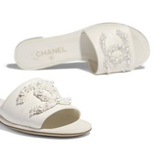 Mules - Ivory - Lambskin - Other view - see standard sized version Mules Shoes, Shoes Sandals, Estilo Coco Chanel, Chanel Mules, Foto Still, Beaded Shoes, Fashion Slippers, Slipper Sandals, Shoe Art