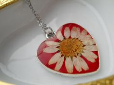 Red heart necklace surgical steel chain daisy in by LightPurple