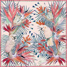 forget me not silk crepe de chine tropicalia scarf. free worldwide shipping at www.skarfe.com