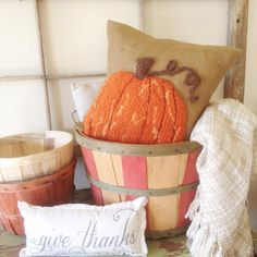 """""""My #onefallthing for today is another pumpkin pillow. I think I'm caught up now on finishing out my rug hooking projects. It sure does make me in the fall…"""""""