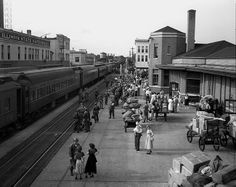 The National Guard leaving for Camp McCoy, Wisconsin from Alton Station (Washington Street) 1949. Springfield, Illinois. Courtesy of the State Journal Register
