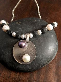 Silver Yoga Necklace  Lava Rock Necklace  by AriesArtisticJewelry